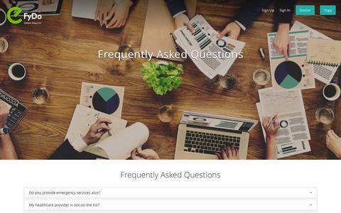 Screenshot of FAQ Page efydo.com - FAQs | eFyDo.com - captured Feb. 1, 2016