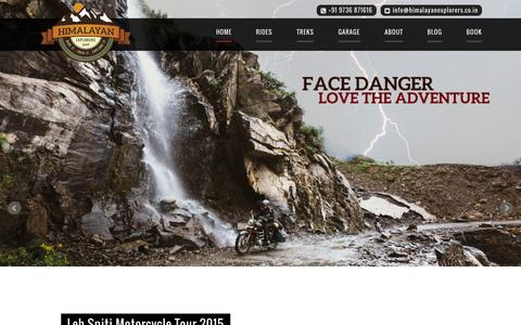 Screenshot of Home Page himalayanexplorers.co.in - Himalayan Explorers | Ride it. Trek it. Explore it. - captured June 17, 2015