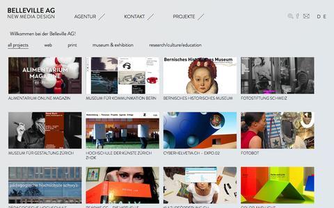 Screenshot of Home Page belleville.ch - Belleville AG | by Andreas Kohli - captured Oct. 5, 2014