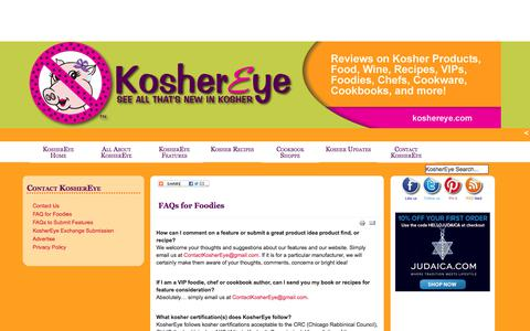 Screenshot of FAQ Page koshereye.com - Kosher FAQ for Foodies from Kosher Eye - captured Feb. 22, 2018