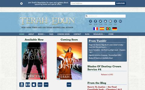 Screenshot of Home Page terahedun.com - Terah Edun   New York Times Bestselling Author - captured July 6, 2018