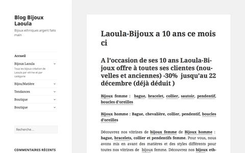Screenshot of Home Page blog-laoula-bijoux.com - Blog Bijoux Laoula - Bijoux ethniques argent faits main - captured March 1, 2016