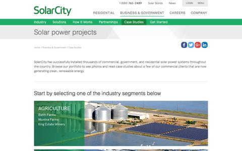 Screenshot of Case Studies Page solarcity.com - Solar Energy System Projects - Solar Power Panel Projects | SolarCity - captured Jan. 2, 2016