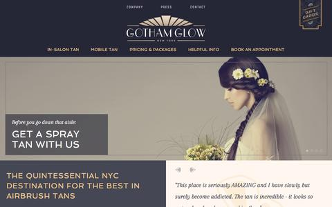 Screenshot of Home Page gothamglow.com - The best in Manhattan New York airbrush tans | Gotham Glow - captured July 25, 2015