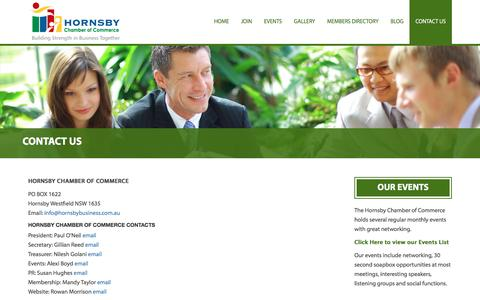 Screenshot of Contact Page hornsbybusiness.com.au - Contact Us - Hornsby Chamber of CommerceHornsby Chamber of Commerce - captured Nov. 12, 2016