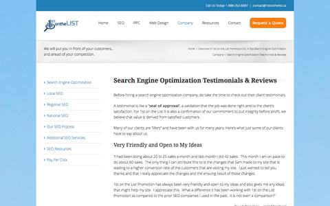 Screenshot of Testimonials Page 1stonthelist.ca - SEO Testimonials Page - captured Nov. 1, 2014