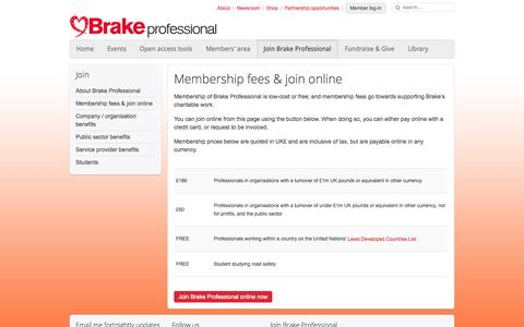 Screenshot of Signup Page brakepro.org - Join Brake Professional - Brake Professional - captured Oct. 5, 2014