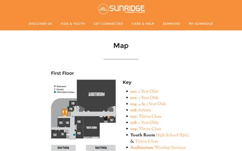 Screenshot of Maps & Directions Page sunridgechurch.org - Campus Map | Sunridge Community Church | Temecula, CA - captured Feb. 16, 2016