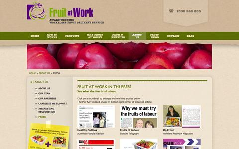 Screenshot of Press Page fruitatwork.com.au - In the Press | Fruit at Work - captured Sept. 30, 2014