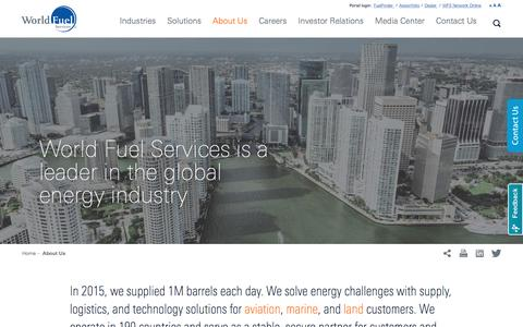 Screenshot of About Page wfscorp.com - Learn More About World Fuel Services - captured Sept. 8, 2016