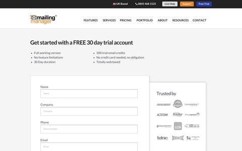 Screenshot of Trial Page mailingmanager.co.uk - MailingManager: Email Campaign Free Trial - Create Free Account - captured Oct. 10, 2014