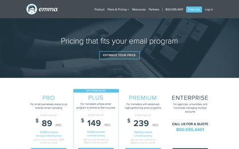 Screenshot of Pricing Page myemma.com - Emma Pricing | Emma, Inc. - captured March 1, 2016