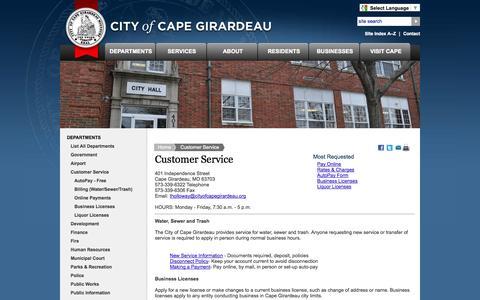 Screenshot of Support Page cityofcapegirardeau.org - City of Cape Girardeau - Cape-Girardeau-Customer-Service - captured Sept. 19, 2014