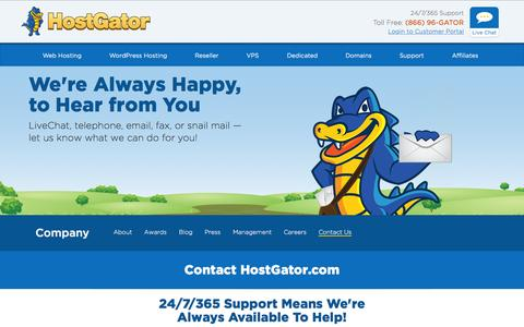 Screenshot of Contact Page hostgator.com - Contact Us - HostGator - captured Sept. 30, 2015
