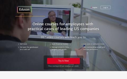 Screenshot of Home Page eduson.tv - Eduson.tv — онлайн курсы для сотрудников. - captured July 3, 2015
