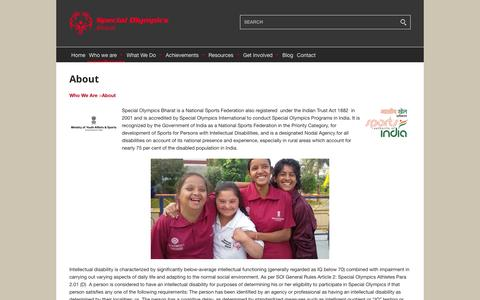 Screenshot of About Page specialolympicsbharat.org - About – Special Olympics Bharat - captured Dec. 21, 2016