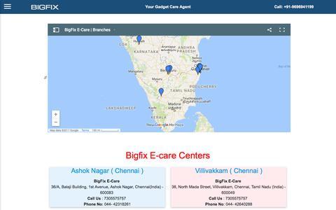 Screenshot of Locations Page bigfix.in - Mobile, Tablet, Laptop & Desktop Repair Service Store - Contact Us - captured Oct. 10, 2017