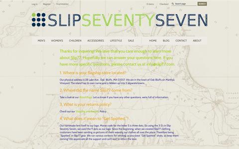 Screenshot of FAQ Page slip77.com - FAQs - Slip77 - captured Oct. 26, 2014