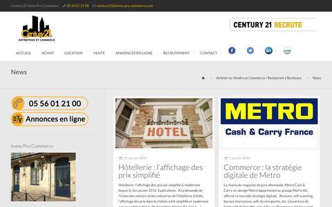Screenshot of Press Page immo-pro-commerce.com - News Archives - Acheter ou Vendre un Commerce / Restaurant à Bordeaux. - captured Jan. 27, 2016
