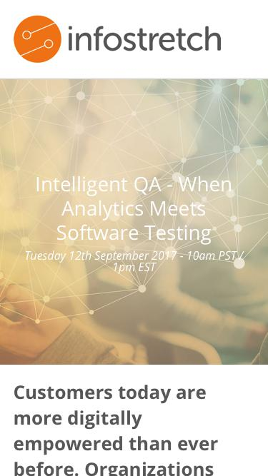 Intelligent QA - When Analytics Meets Software Testing Tuesday 12th September 2017 - 10am PST / 1pm EST