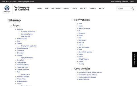 Screenshot of Site Map Page vwofoakland.com - Sitemap | Volkswagen of Oakland serving Berkeley - captured Oct. 22, 2017
