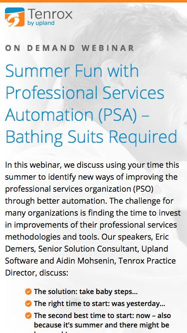 Webinar: Summer Fun with Professional Services Automation (PSA) – Bathing Suits Required