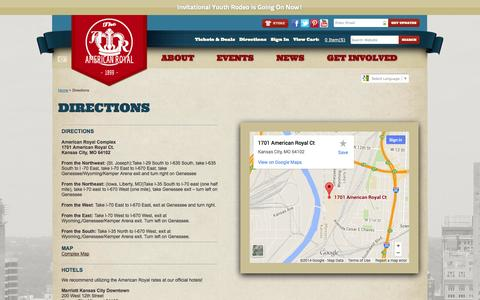 Screenshot of Maps & Directions Page americanroyal.com - Directions - captured Sept. 23, 2014