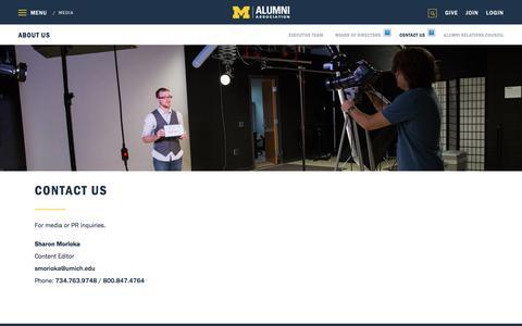 Screenshot of Press Page umich.edu - Media | Alumni Association of the University of Michigan - captured March 1, 2018