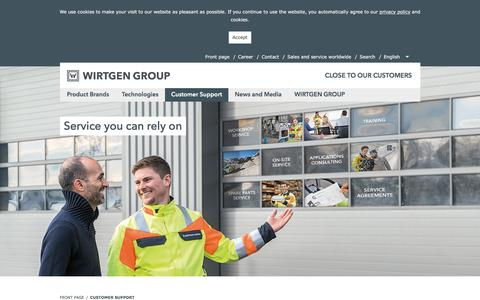 Screenshot of Support Page wirtgen-group.com - Our range of Services in Customer Support - WIRTGEN GROUP - captured June 6, 2018