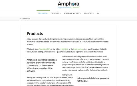 Screenshot of Products Page amphora-research.com - Products | Amphora Research Systems - captured Feb. 6, 2016