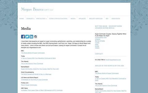 Screenshot of Press Page meganbearce.com - Media - Megan Bearce, LMFT, LLC - captured Oct. 17, 2018