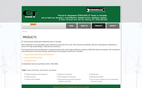 Screenshot of Products Page ettools.ca - Products | ET Tools Canada - captured Sept. 26, 2014