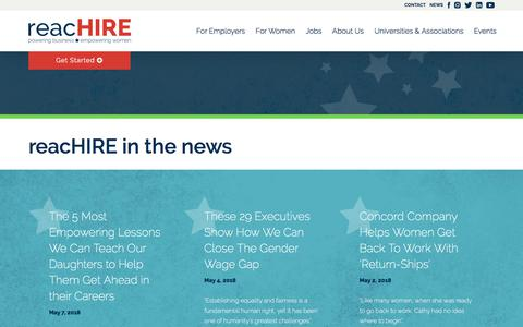 Screenshot of Press Page reachire.com - In the News - captured June 22, 2018