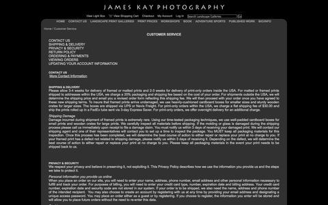 Screenshot of Support Page jameskay.com - Customer Service - captured Oct. 6, 2014