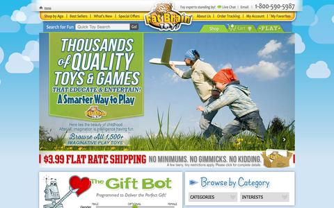 Screenshot of Landing Page fatbraintoys.com - Educational Kids Toys & Gifts from Fat Brain Toys - captured Oct. 27, 2014