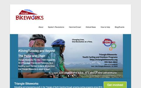 Screenshot of Home Page Menu Page trianglebikeworks.org - Triangle Bikeworks | Transforming Mind, Body and Spirit. One Revolution at a Time… - captured Oct. 7, 2014