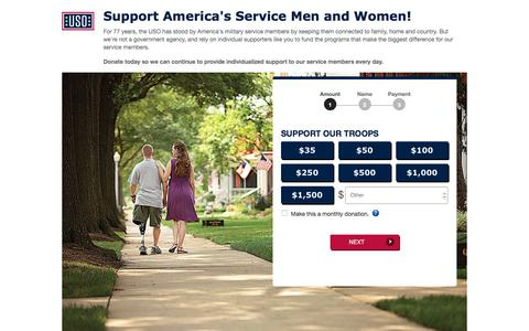 Screenshot of Landing Page uso.org - Donate | USO.org - captured March 23, 2018
