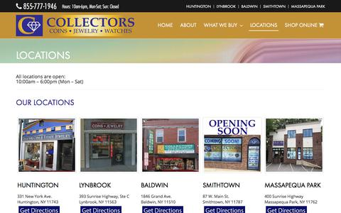 Screenshot of Locations Page collectorscoinsjewelry.com - Locations - Collectors Coins Jewelery - captured July 20, 2018