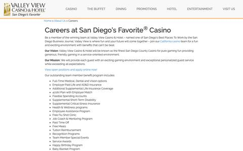 Screenshot of Jobs Page valleyviewcasino.com - San Diego Casino Jobs | Valley View - captured April 17, 2019
