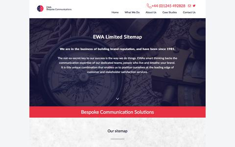 Screenshot of Site Map Page ewagroup.com - Contact Centre Outsourcing, EWA Dedicated Contact Centre Solutions - captured July 9, 2018