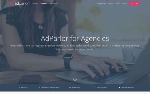 Screenshot of adparlor.com - Agencies | AdParlor - captured May 21, 2017