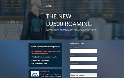 Screenshot of Landing Page liveu.tv captured March 21, 2016