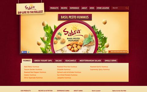 Screenshot of Products Page sabra.com - Hummus Dips, Salsas & Guacamole | Sabra Dipping Co. - captured Sept. 19, 2014