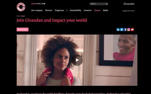 Screenshot of Jobs Page givaudan.com - Join Givaudan and impact your world | Givaudan - captured Oct. 30, 2019
