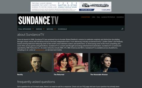 Screenshot of About Page sundance.tv - About – SundanceTV - captured Jan. 15, 2016