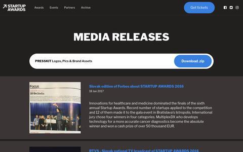 Screenshot of Press Page startupawards.sk - STARTUP AWARDS - captured Nov. 9, 2017