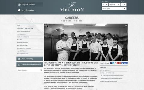 Screenshot of Jobs Page merrionhotel.com - Hotel Jobs Dublin, Hotel Job Dublin, Hotel Jobs In Dublin - Career Opportunities at the Merrion Five Star Hotel Dublin City - captured Sept. 22, 2018