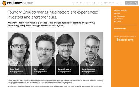 Screenshot of Team Page foundrygroup.com - Team | Foundry Group - captured Sept. 23, 2014