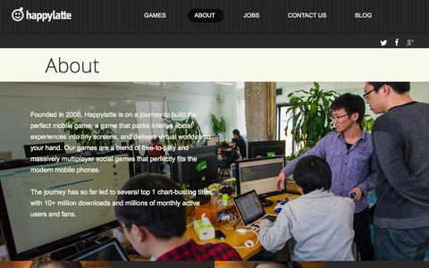 Screenshot of About Page happylatte.com - Happylatte - captured Sept. 19, 2014