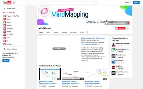 Screenshot of YouTube Page youtube.com - MindMeister  - YouTube - captured Dec. 17, 2014